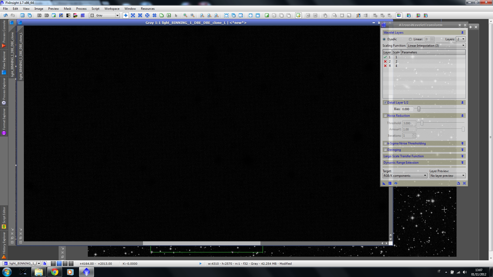 Ecco qui il rumore presente nel fondo cielo! Notare la presenza di un  pattern abbastanza evidente… ba3a63465df2